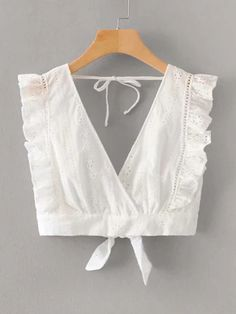 To find out about the Eyelet Embroidery Tie Back Surplice Top at SHEIN, part of our latest Women Tops ready to shop online today! Stylish Blouse Design, Fancy Blouse Designs, Blouse Neck Designs, Blouse Styles, Look Boho Chic, Cute Casual Outfits, Lingerie, Fashion Outfits, Clothes For Women