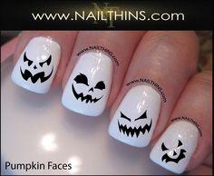 Scary Face Pumpkin Nail Decal Halloween Nails Jack O Lantern NAILTHINS