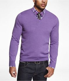 Express Mens Merino Wool Vneck Sweater Violet, Medium, need this for the fall/winter, one of my fav colors to wear!