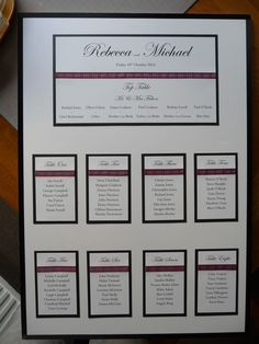 Black and White Seating plan with Royal Stewart Tartan ribbon