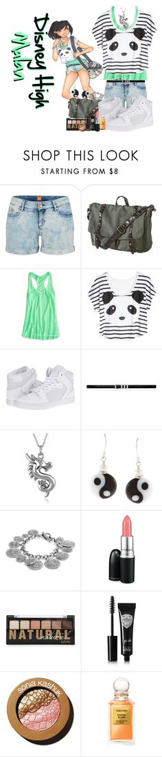 """""""Disney High Mulan"""" by spectrastarlight ❤ liked on Polyvore featuring BOSS Orange, Mossimo Supply Co., American Eagle Outfitters, Panda, Supra, Yves Saint Laurent, Journee Collection, Charming Life, David Yurman and MAC Cosmetics"""