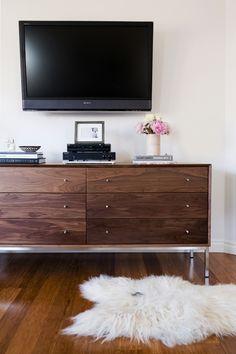 Master Bedroom for www.eatsleepwear.com // Modern // Neutral // Black and White // Minimal // modern wooden dresser // sheepskin