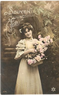 Antique French Postcard Tinted Photo Pretty Young Woman in Ruffles and Lace…