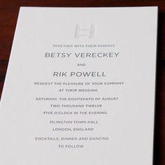 London/USA wedding in letterpress