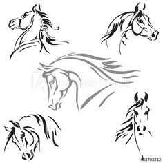Doodle Drawing, Brush Drawing, Line Drawing, Horse Drawings, Animal Drawings, Horse Head, Horse Art, Horse Outline, Horse Stencil