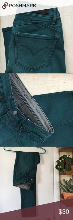Levi's Demi Curve Jeans Beautiful pair of green skinny, mid rise, Demi Curve denim jeans by Levi Strauss. Like new! Levi's Jeans Skinny