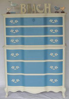 Blue & Grey Vintage French Provincial Tall Boy Dresser Shabby Chic Coastal Cottage Six Drawers. $350.00, via Etsy.