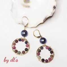 Pretty Earrings with Sapphire, Ruby and Pearl