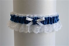 Royal Satin Garter with White Lace