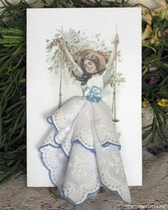Tarjetas de la vendimia con las damas en faldas de pañuelos (14) (500x626, 225KB)