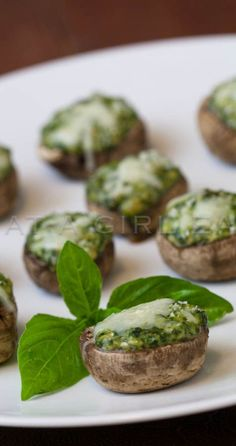 Spinach souffle stuffed mushrooms are an easy but elegant appetizer. Creamy spinach souffle baked inside of fresh mushroom caps with Parmesan. Recipe here! Vegetarian Recipes, Cooking Recipes, Healthy Recipes, Spinach Souffle, Cheese Souffle, Fingers Food, Appetizer Recipes, Appetizers, Appetizer Ideas