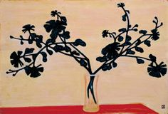 Sanyu, 常玉 ,China, Chrysanthemums on the Red Table with Yellow Background