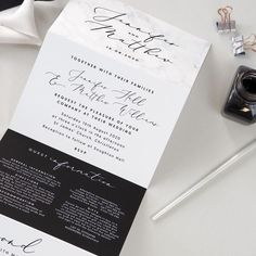 Monochrome marble concertina style wedding invitations with a handy tear-off RSVP section for your guests to return! Monochrome Weddings, Rsvp, Marble, Wedding Invitations, Reception, Wedding Inspiration, Pretty, Projects, Studio