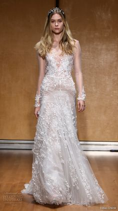 inbal dror 2017 bridal long sleeves illusion boat neckline full embellishment drop waist elegant romantic modified a  line wedding dress sweep train (009) mv
