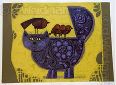 Dummy Cat, David Weidman, Goodwill find!  Original framed art