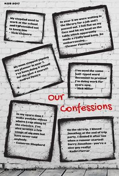 Ready to own up? This graffiti style confession wall is easy to make with our grunge PNG frames and urban font palette. Yearbook gold in the making!
