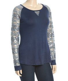 Another great find on #zulily! Navy & Gray Sequin Lace Raglan Tee - Plus #zulilyfinds