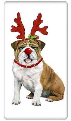 "Rudolph Reindeer English Bulldog Dog 100% Cotton Flour Sack Dish Towel Tea Towel - 30"" x 30"" by Designer Mary Lake Thompson"