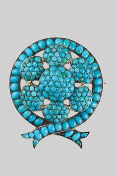 Antique Pave Turquoise Floral and Ribbon Motif Pin