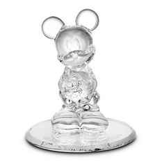 Disney Parks Mickey Mouse Glass Figurine by Arribas Brothers New with Box