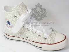 Women's Ladies white pearl bridal flat Customised High Top Converse Sizes 3-8 #Converse #HiTopTrainerBoots