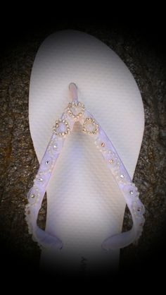 Heart Rhinestone Bridal Wedding Flip Flops