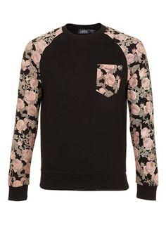 Black Rose Sleeve Patterned Sweatshirt