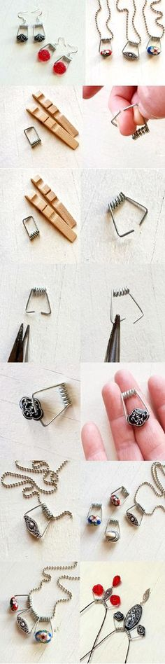 Not really a jewelry person, but this just way too crafty and got my attention! DIY Clothespin Jewelry