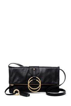 Image of Badgley Mischka Leather Campaign Clutch