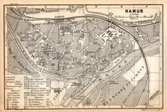 1897 Namur Belgium Antique Map Vintage Lithograph by Craftissimo