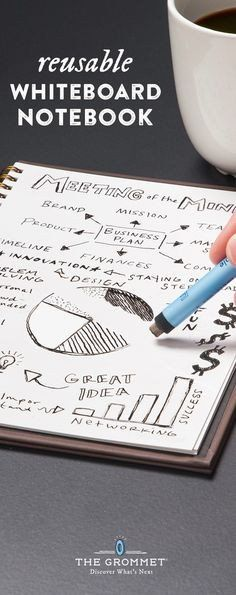 Reuse this notebook, discovered by The Grommet, over and over again—just wipe clean after. Fill with sketches, diagrams, notes, lists, or your day's to-do's.