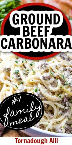 Creamy, meaty, and flavorful this ground beef carbonara from Tornadough Alli is a serious family favorite that is full of flavor and goodness that even your pickiest eater will love! Give this meal idea a try for an easy weeknight dinner! It's a winner!
