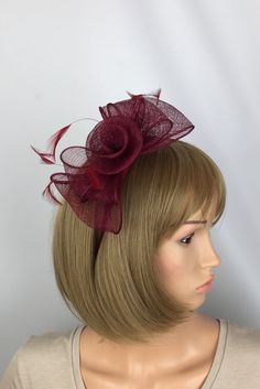 Excited to share this item from my shop: Burgundy Fascinator Maroon Claret Red Fascinator Sinamay Fascinator Wedding Mother of the Bride Ladies Day Ascot Races Occasion Event Burgundy Fascinator, Royal Blue Fascinator, Green Fascinator, Wire Headband, Fascinator Headband, Fascinator Hairstyles, Wedding Fascinators, Wedding Hats, How To Make Fascinators