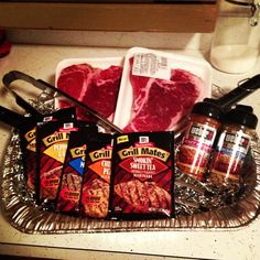 Gift idea for men- grill set, steaks, steak seasoning and marinade.