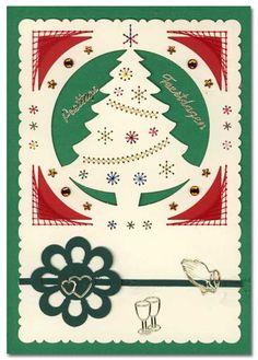 borduur kerstkaart met boom