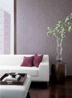 Bloom Wallpaper in Plum design by Stacy Garcia for York Wallcoverings Modern Wallpaper Designs, Purple Home, Modern Cottage, Burke Decor, Contemporary Decor, Modern Bedroom, Living Room Designs, Living Rooms, House Design