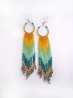 Hoop Fringe Beaded Earrings