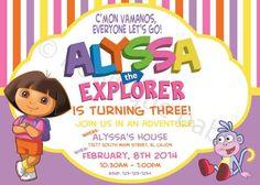 DIY dora the explorer birthday invitation