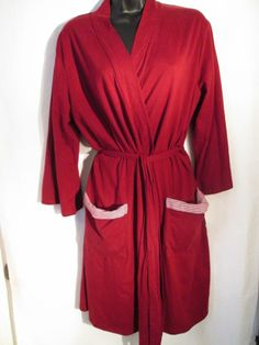 Women's Nautica Cranberry Front Wrap Short Robe New $32