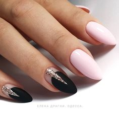 66 Hot Trend Black Almond Nails Design in 2019 - Chicbetter Inspiration for Modern Women : 66 Hot Trend Black Almond Nails Design in 2019 - chic better Classy Nails, Cute Nails, Pretty Nails, Classy Nail Designs, Nail Art Designs, Prom Nails, Wedding Nails, Winter Nails, Summer Nails