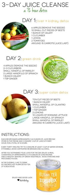 Three Day Juice Cleanse - Short. effective. and allows a meal at night. Have to try this.