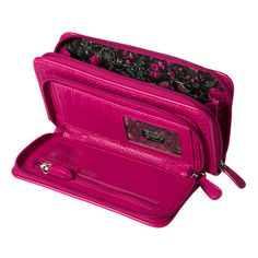 Need lots of space?  This is the wallet for you!  Come in our bright Fuchsia Snakeskin faux leather kissed with glossy spots!  Large zippered compartments and delicious floral lining!  Matches perfectly with our Cheery shells and fuschia coin purse!  Also comes in Black!  Check them out on my website:  http://tammiegrim.miche.com