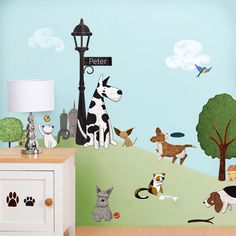20% off through 12/17 with code PAWS20 new Dog and Cat Wall Stickers - City Park Theme Wall Decals