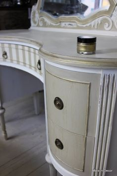 Maison Decor: A french vanity~How to add details to your painted pieces.I used my wonderful gilding wax on the tiny raised edges of the drawers~WOW! I also used it on the edges of the top of the vanity and more heavily around the mirror.
