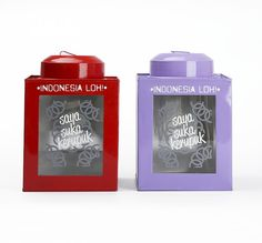 """Kaleng Kerupuk Merah dan Unguby Indonesia Loh. A set of can for crackers consist of 2 can, one in redcolor and the other one in purplecolor. Features with picture of crackers and also with cool typography written """"Saya Suka Kerupuk"""". Both of the can has size dimension; 15cm x 15cm x 22cm.  http://www.zocko.com/z/JKA9h"""
