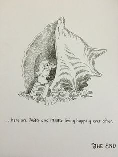 "Toffle and Miffle living happily ever after.   From the Moomin book ""Who Will Comfort Toffle?"""
