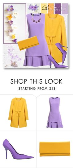 """""""Spring Purple & Yellow"""" by brendariley-1 ❤ liked on Polyvore featuring Boutique Moschino, Balenciaga, 1st & Gorgeous by Carolee, dress, springfashion, purpleandyellow and Boutiquemoschino"""