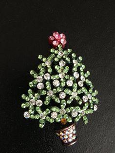 Vintage Christmas Tree Brooch Signed L-S.