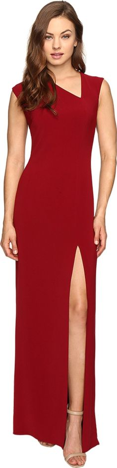Halston Heritage Women's Cap Sleeve Asymmetrical V-Neck Crepe Gown w/ Slit Dahlia Dress. Become a fashion icon in this Halston Heritage™ gown. Slim fitting crepe fabrication. Asymmetrical V-neckline. Cap sleeve design. Concealed back zip closure. Sultry thigh-high slit at front. Straight hemline. Lined. 91% polyester, 9% spandex;Lining: 100% polyester. Dry clean only. Imported. Measurements: Length: 63 1⁄2 in Product measurements were taken using size 2. Please note that measurements may...