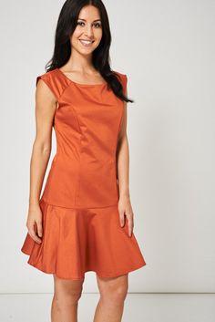 5c664b6748 Frill Hem Terracotta Dress Available In Plus Sizes